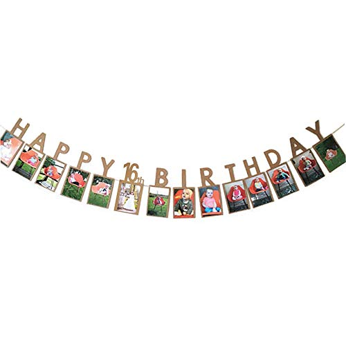 Hatcher lee Happy 16th Birthday Sweet Sixteen 16 Years Photo Banner for 16th Birthday Bunting Kraft -