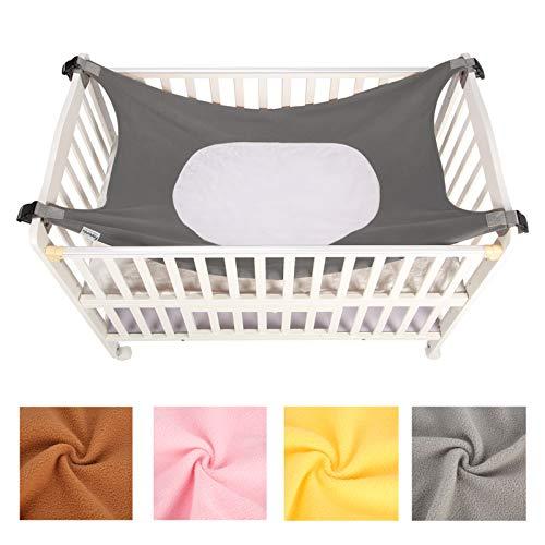 Caroeas Babycare Baby Hammock, Cozy As Womb Baby Crib Hammock, Adjustable Straps Fits Most Cribs, Enhanced Safety Measures Baby Hammock for Crib, Nursery Baby Hammock Swing (Grey)