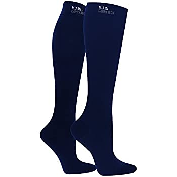 Compression Socks - Best Socks for Travel, Running, Athletes, Pregnancy, Medical, Varicose Veins, Edema, Diabetic - Milano Blue - One Size
