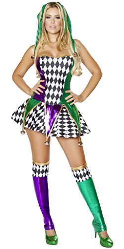 Musotica Court Jester Girl Halloween Costume - White/Black/Green/Purple - (Kids Court Jester Costume)