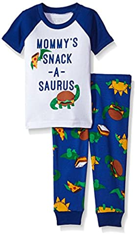 The Children's Place Baby-Boys Li'l Guy's Short Sleeve & Pant Pajamas Set, Very White, 3-6 months - Baby Boy Pajamas