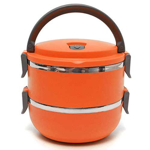 2 Layers Stainless Steel Bento Lunch Box Portable Thermal Insulation Lunch Box (Orange) - Ham Tsum Tsum