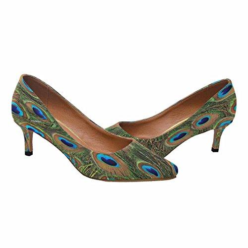 InterestPrint Womens Low Kitten Heel Pointed Toe Dress Pump Shoes Peacock Feathers Multi 1 ryau58SV