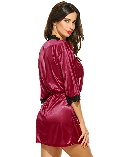 cooshional atractivo vestido de lencería para las mujeres Ropa de dormir de la manga 3/4 con G-string Vino rojo