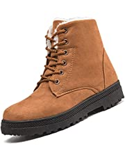 DimaiGlobal Womens Winter Snow Boots Comfortable Outdoor Anti-Slip Ankle Boots Warm Fur Lined Booties Lace Up Walking Shoes Platform Shoes