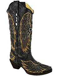 Corral Womens A1967 Wing And Cross Black Fashion Boots 7 M