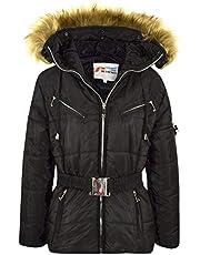Kids Girls Jackets Puffer Hooded Faux Fur Black Padded Zipped Belted Warm Coats