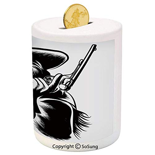 SoSung Western Ceramic Piggy Bank,Profile Portrait of a Cowboy with Revolver Monochrome Dangerous Man in Texas Decorative 3D Printed Ceramic Coin Bank Money Box for Kids & Adults,Black and White