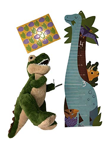 Dinosaur Growth Chart with Dinosaur 19 Inch Tall Stuffed Animal Gift Set Bundle