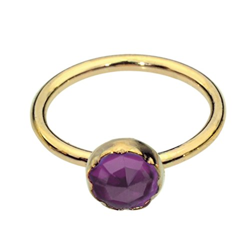 Nose Ring Hoop - Tragus Earring - Cartilage Earring - 14K Yellow Gold Filled 20G 7mm Hoop 3mm Amethyst (Amethyst Flower 14k)