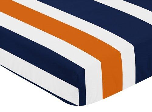 Sweet Jojo Designs Fitted Crib Sheet for Modern Navy Blue and Orange Stripe Baby/Toddler Bedding - Stripe Print [並行輸入品]   B077Z1XLNY