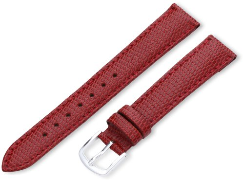 (Hadley-Roma Women's LSL725LQ 160 16-mm Red Java Lizard-Embossed Genuine Leather Watch Strap)
