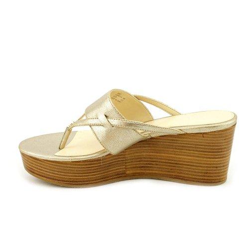 Calvin Klein Women's Gabriella Thong Wedge Sandals in Platino Size 11