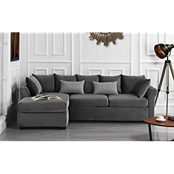 Amazon Com Sectional Sofa With Storage Chaise Set Linen