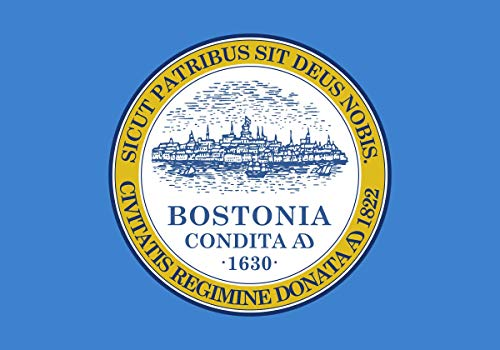 BeeFuture City of Boston Flag 3x5 FT Vivid Color and UV Fade Resistant Flag 3x5 Foot Polyester Flag Banner with Two Brass Grommets