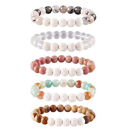 (Adramata 5Pcs Lava Rock Stone Aromatherapy Essential Oil Diffuser Bracelet for Women Girls Natural Gemstone Healing Crystal Bracelet)