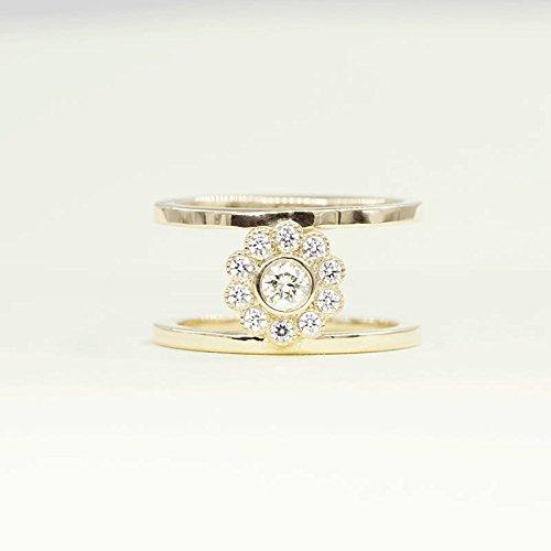 Diamond Bezel Engagement Ring/Double Bar Solid 14k White,Yellow,Rose Gold Ring/Unique Diamond Double Band/Flower Shaped Diamond Wedding Bridal Ring
