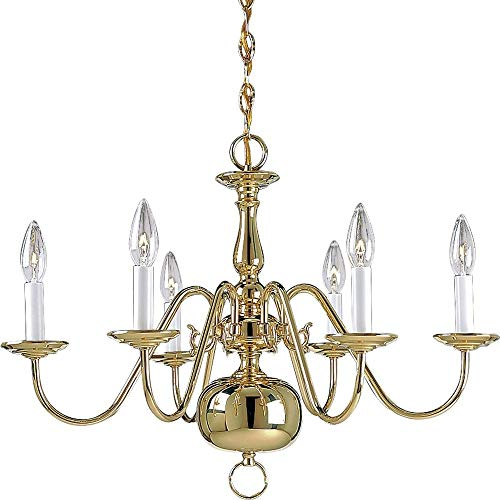 Progress Lighting P4356-10 6-Light Americana Chandelier with Delicate Arms and Decorative Center Column and Candelabra Lamps, Polished Brass