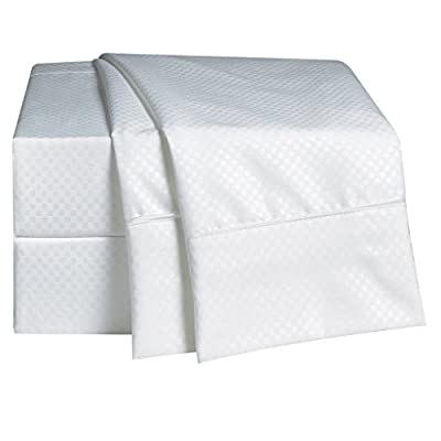 "Rajlinen 100% Cotton Bed Sheet Set - 300 Thread Count Sateen - 15 inch Deep Pocket - Quality Luxury Bedding - 4 Piece (White Checked Crosshatch Pattern California King) - California King Sheet set includes : 1 Qty flat sheet measuring 102-by-108-inch , 1 Qty fitted sheet measuring 72-by-84-inch with 15 Inch Drop , and Two Qty King pillowcases 20-by-40-inch.Fitted sheets will fit mattress up 15 to 16 inches deep ,Elastic all around for a perfect fit ISO 9001 2015 ,CLASS 1 certified which makes them completely free of harmful chemicals and absolutely safe to use even for babies and toddlers up to age 3. Following the best processes and International Quality Standards. Deep Pocket Fitted Sheets: Fits mattresses with ease! (15"" pockets).Fitted sheet has elastic to stretch and fit snugly over mattresses. - sheet-sets, bedroom-sheets-comforters, bedroom - 414M2 Ls4cL. SS400  -"