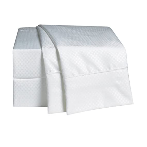 """Rajlinen 100% Cotton Bed Sheet Set - 300 Thread Count Sateen - 15 inch Deep Pocket - Quality Luxury Bedding - 4 Piece (White Checked Crosshatch Pattern California King) - California King Sheet set includes : 1 Qty flat sheet measuring 102-by-108-inch , 1 Qty fitted sheet measuring 72-by-84-inch with 15 Inch Drop , and Two Qty King pillowcases 20-by-40-inch.Fitted sheets will fit mattress up 15 to 16 inches deep ,Elastic all around for a perfect fit ISO 9001 2015 ,CLASS 1 certified which makes them completely free of harmful chemicals and absolutely safe to use even for babies and toddlers up to age 3. Following the best processes and International Quality Standards. Deep Pocket Fitted Sheets: Fits mattresses with ease! (15"""" pockets).Fitted sheet has elastic to stretch and fit snugly over mattresses. - sheet-sets, bedroom-sheets-comforters, bedroom - 414M2 Ls4cL. SS570  -"""