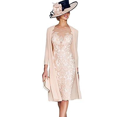 Newdeve Light Pink Lace 3/4 Sleeve Knee Length Formal Bridal Mother Dresses