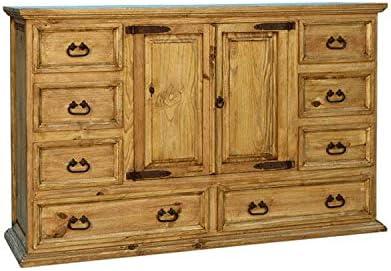 Santa Rita Rustic Grande Dresser W/Cabinet Fully Assembled