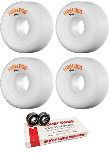 モンスター有限体系的に58 mm Miniロゴa-cutハイブリッドスケートボードWheels with Bones Bearings – 8 mm Bones Swiss Skateboard Bearings – 2アイテムのバンドル