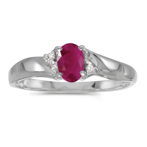 14k White Gold Oval Ruby And Diamond Ring (Size 9)