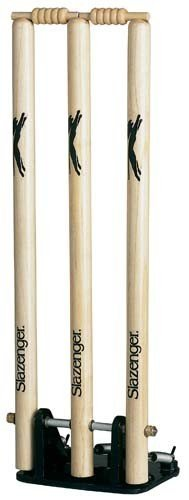 (Slazenger Cricket Wooden Spring Return Stumps With Bails & Metal Base Wickets by Slazenger)