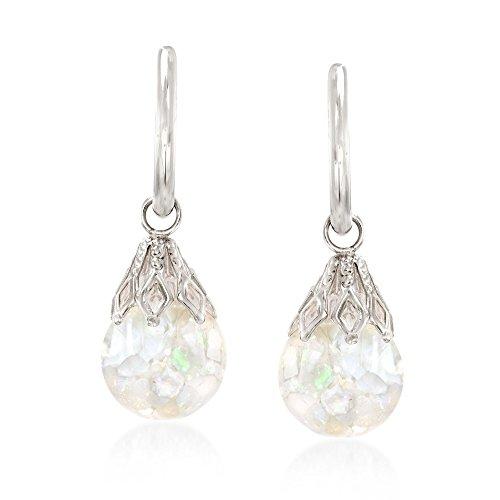 Ross-Simons Floating Opal Hoop Drop Earrings in 14kt White Gold