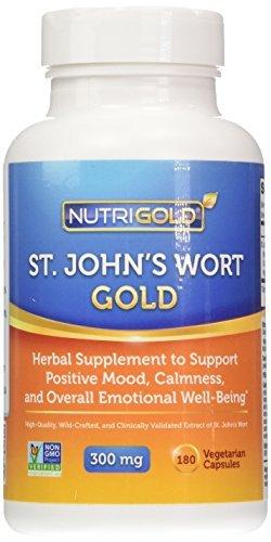Nutrigold St. John's Wort Gold (European Pharma Grade) (Clinically-proven), 300 mg, 180 veg. capsules by Nutrigold (Capsule Wort 180)