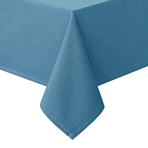 (Homedocr Faux Linen Square Tablecloth Wrinkle Resistant and Washable Textured Fabric Table Cloth for Kitchen and Dining Room, 52 x 52 Inches, Blue)