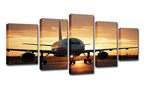 Mytinaart Modern Wall Art Canvas Pictures Home Decor for Living Room 5 Pieces Golden Sunset Aircraft Oil Painting HD Prints Airplane Posters Framed for Ready to Hang