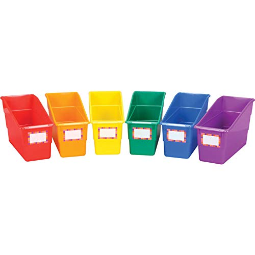 Really Good Stuff Durable Magazine, Book, Folder, File and Binder Holders - Ideal for Narrow or Vertical Storage Needs - Instantly Color Code Your Classroom - Assorted Primary Colors (Set of 6)