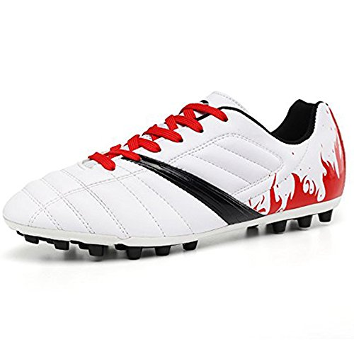 YING LAN Men's Boys Turf Cleats Soccer Athletic Football Outdoor/Indoor Sports Shoes AG White (Turf Soccer Outdoor Shoes)