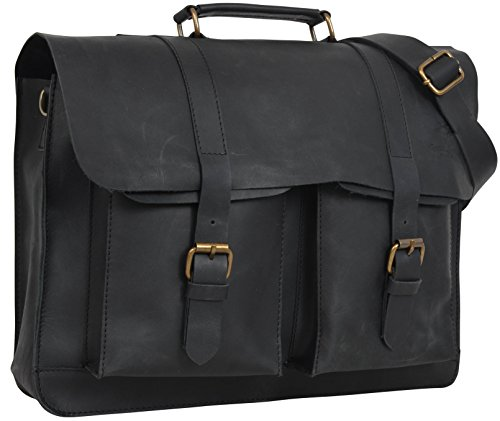 Gusti Pelle studio Edgar borsa a tracolla (laptop 15,4) nero College Università Studente Vintage Business tempo libero Vera Pelle 2M2-17-1