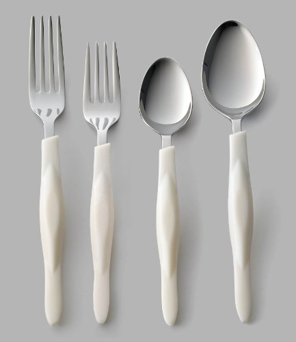 CUTCO Model 1546 White (Pearl) 4-Pc Traditional Flatware Place Setting --- in plastic bags from the factory....... Teaspoon, Tablespoon, Dinner Fork, Salad Fork in blue CUTCO gift box.