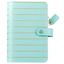 "Color Crush Faux Leather Personal Planner Kit 5.25""X8""-Blue W/Gold Stripe"