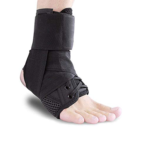 Cpaoo Ankle Stabilizer, Adjustable Ankle Brace Strap Supports Guard Protector Sports Safety for Running, Basketball, Volleyball, Injury Recovery or Sprain for Men & Women, Black Medium