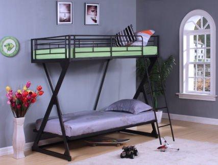 ACME Furniture 37130 Zazie Twin over Twin Bunk Bed, Sandy Black