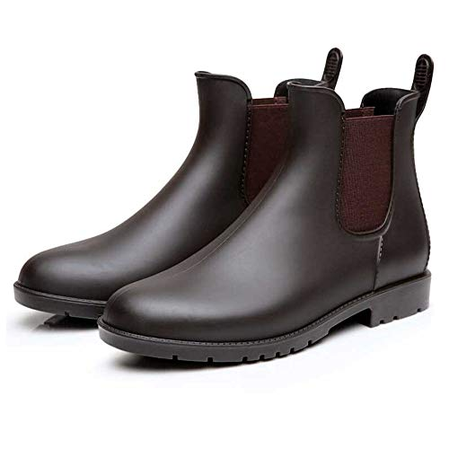 Mini Balabala Women's Short Ankle Rain Boots Slip On Waterproof Chelsea Booties Lightweight Rubber Rain Boots Brown Size 8 (Women Mini Boots)