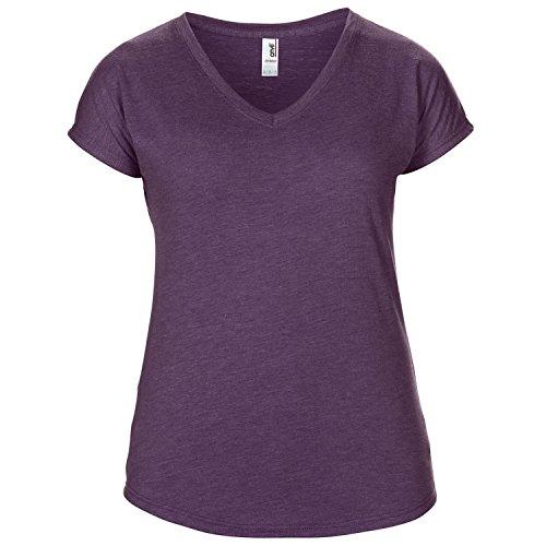 Anvil- Camiseta de manga corta con cuello en forma de V para mujer Naranja mezcla