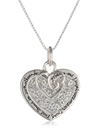 """Sterling Silver """"Mother and Daughter Never Truly Part Bound In Each Other's Heart"""" Pave Crystal Pendant with Open Heart Charm Necklace, 18"""""""
