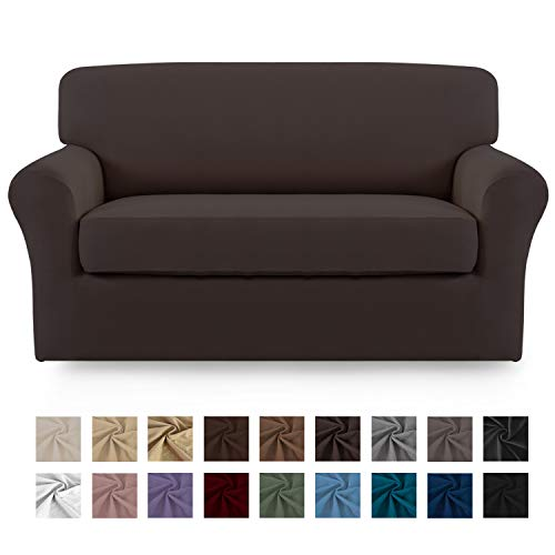 Easy-Going 2 Pieces Microfiber Stretch Sofa Slipcover - Spandex Soft Fitted Sofa Couch Cover, Washable Furniture Protector with Elastic Bottom Kids,Pet (Loveseat,Chocolate)