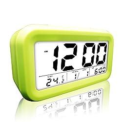 eBoTrade Digital Alarm Clock, LCD Morning Clock with Calendar Thermometer Large Display Smart Nightlight Soft Light Snooze Sleep Backlight Green