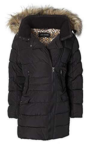 Steve Madden Women's Quilted Puffer Jacket Coat with Faux Fur Trimmed Hood - Black (Size 3X) - Fur Trimmed Knit Jacket