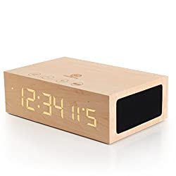 Bluetooth Digital Wooden Alarm Clock Speaker by GOgroove - Wood Style , Built in Microphone , LED Time + Date Display for Phones, MP3 Players, Tablets, & More - Light Finish