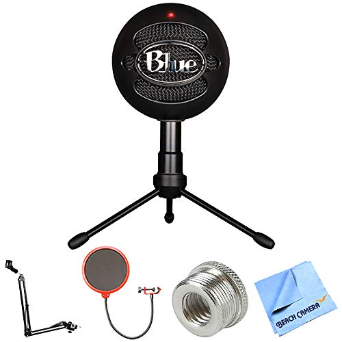 Blue Microphones Snowball iCE Versatile USB Microphone - Black (SNOWBALL iCE Black) + Suspension Boom Scissor Arm Stand + Pop Filter Microphone Wind Screen + Mic Stand Adapter + MicroFiber Cloth by Blue Microphones