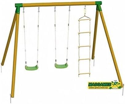 MASGAMES | Columpio de Madera KIBO Deluxe | Dos Asientos Planos de plástico de Cuerdas Regulables + una Escalera de Cuerdas | Madera tratada | Anclajes incluidos | Uso doméstico |