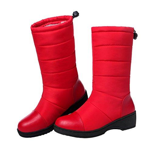 Enmayer Damesmateriaal Waterdicht En Warm Snowboots Plat Dikke Halfhoge Laarzen Rood # 76